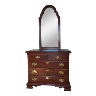 """COLONIAL FURNITURE CO. Cherry Chippendale Style Chest & Mirror 37.5""""W"""