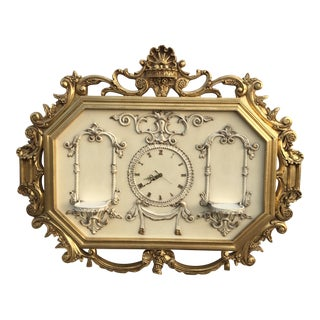 Hollywood Regency Very Large Gold Gilt Framed Clock With Shelves