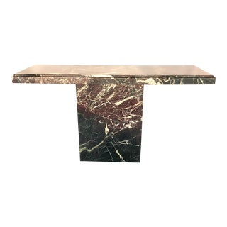 Hollywood Regency Marble Brutalist Pedestal Console Table