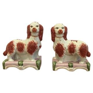 Antique Staffordshire Spaniel Dogs - Pair