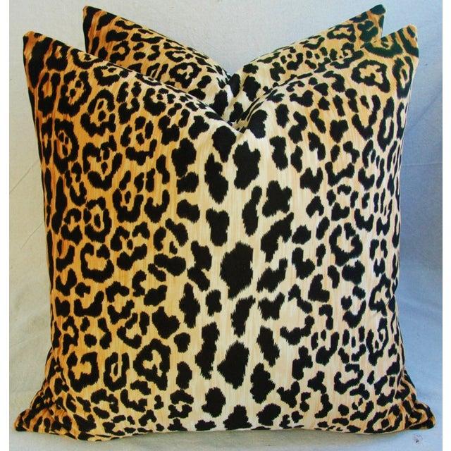 """Large 26"""" Safari Leopard Velvet Pillows - Pair - Image 5 of 9"""