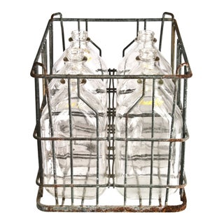 Galvanized Wire Crate & Glass Cream Top Bottles - Set of 6