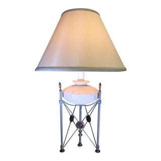 Frederick Cooper Triangle Pillar Table Lamp with Limestone Base