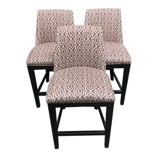 Purple and Cream Patterned Upholstered Counter Height Stools - Set of 3