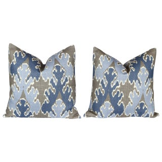 Blue and Grey Bengal Bazaar Pillows - A Pair