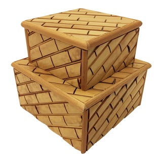 Vintage Bamboo Boxes - A Pair
