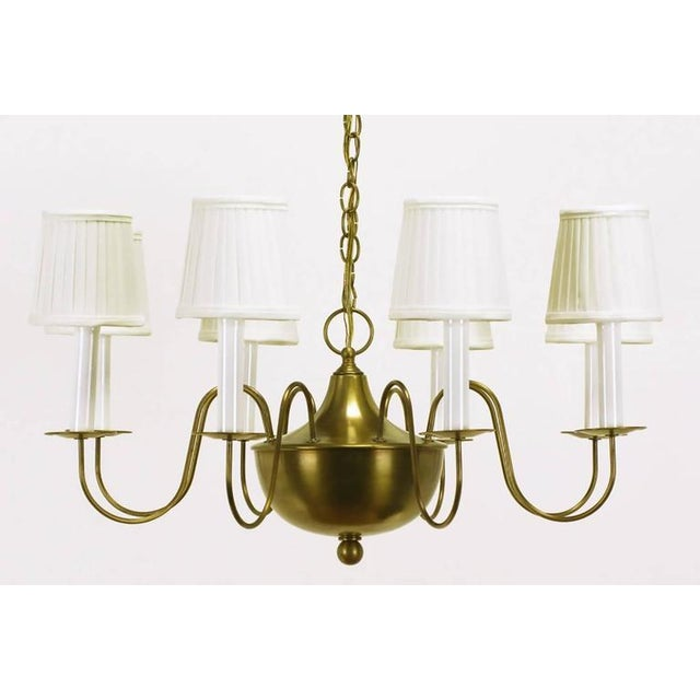 Image of Fine Hand-Spun Brass Eight-Light Chandelier with Delicate Arms