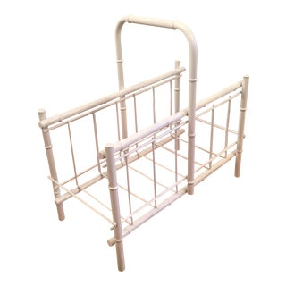 White Faux Bamboo Magazine Rack