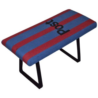 French Postal Bag Bench on Steel Bracket Legs