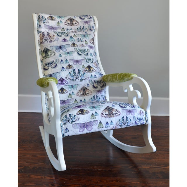 Upholstered Wood Rocking Chair in Antique White With Moth Print Velvet - Image 3 of 6