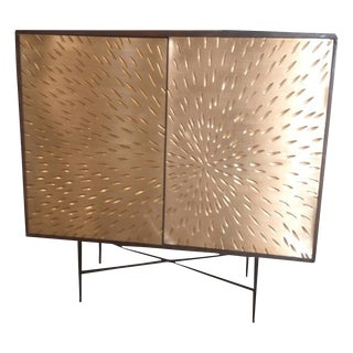 Contemporary Gold Wooden Cabinet