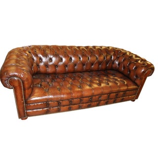 English Vintage Chesterfield Tufted Leather Sofa