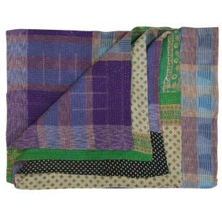 Vintage Purple Plaid Kantha Quilt