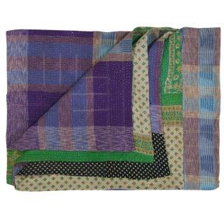 Vintage Purple Plaid Kantha Quilt