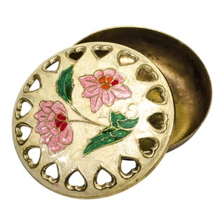 Vintage Brass Trinket Box With Floral Lid