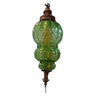 Vintage Green Glass Hanging Swag Light