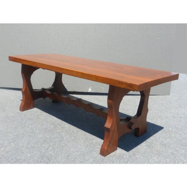 Vintage Arts & Crafts Solid Wood Walnut Bench - Image 3 of 8