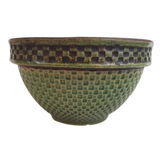 Antique Checkerboard Mixing Bowl