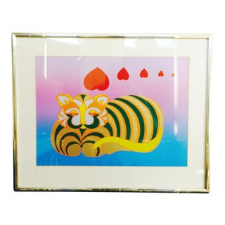 1970s Framed Cat Art Print