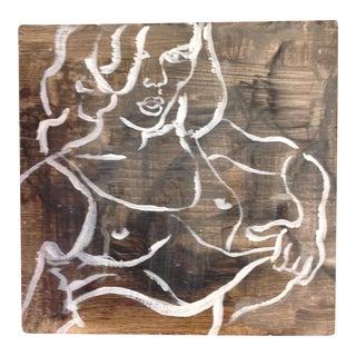"Pete Langway ""Nude Girl"" Painting on Wood"