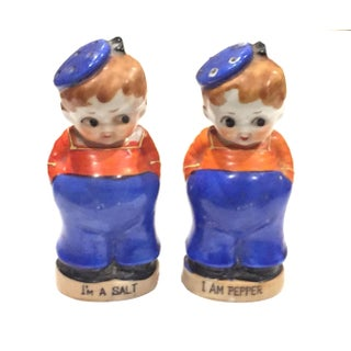 Vintage Sailor Boy Salt & Pepper Shakers - a Pair