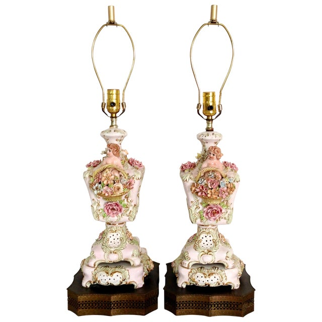 Italian Porcelain Capidomente Table Lamps - A Pair - Image 1 of 8