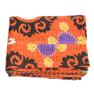 Orange Kantha Suzani Throw - A Full