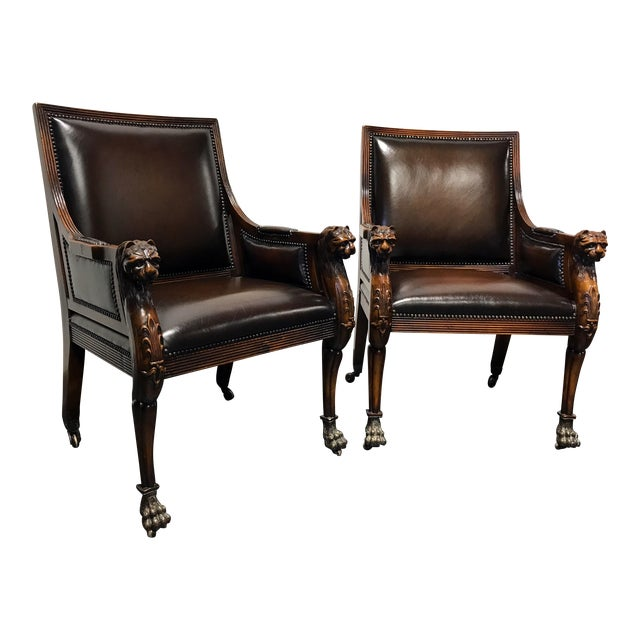 Theodore Alexander Leather Lion Head Chairs - A Pair - Image 1 of 11