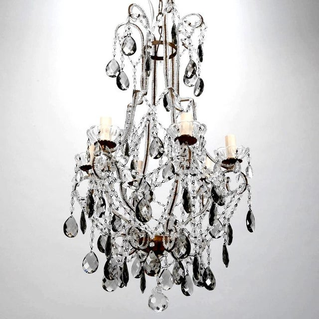 French Six Light All Crystal Beaded Chandelier With Smoke Color Drops - Image 6 of 10