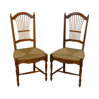 French Country Style Rush Seat Side Chairs - A Pair