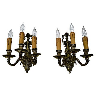 3-Light Brass Sconces - Pair