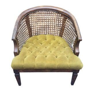 Hollywood Regency Green Velvet Caned Barrel Chair