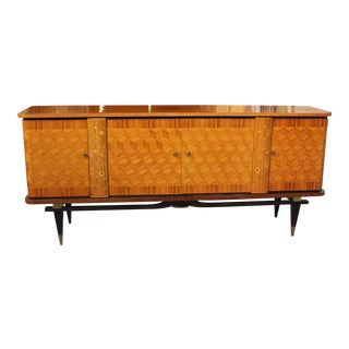 French Art Deco Light Exotic Macassar Ebony Sideboard / Buffet By Jules Leleu Style, with mother-of-pearl Circa 1940s