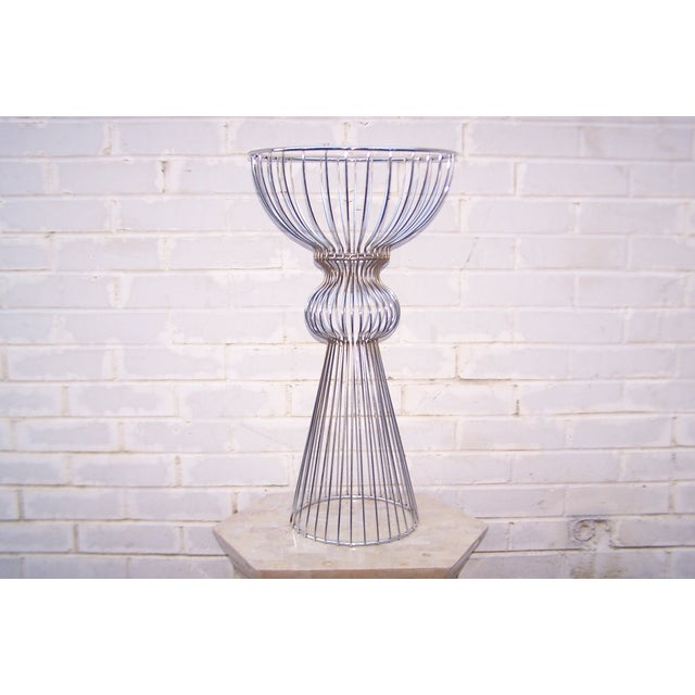 Vintage 1960s Steel Wire Sculptural Plant Stand - Image 3 of 9