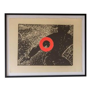 """Stop"", Carol Bennett, Original Linocut on Paper, Kaua'i, 2004"