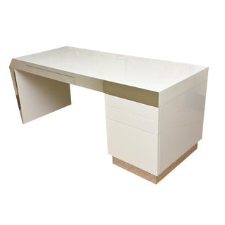 Monumental White Lacquered Wood and Stainless Steel Sculptural Desk