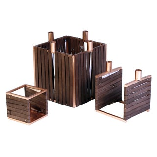 Metal and Leather Candle Holders - Set of 3