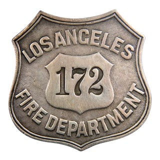 Los Angeles Fire Department 172 - Antique Sterling Silver Badge -c1900s