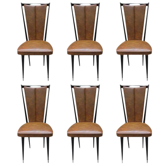 vintage french art deco mahogany dining chairs set of 6