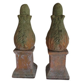 Concrete Garden Finials - A Pair
