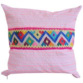 Pink Stitch & Peruvian Ribbon Pillow