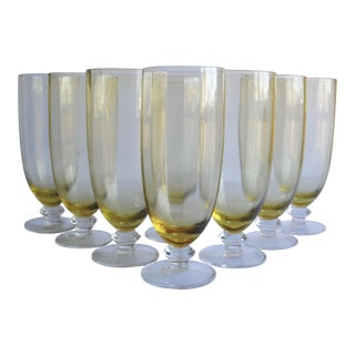 Mid-Century Yellow Glasses - Set of 8