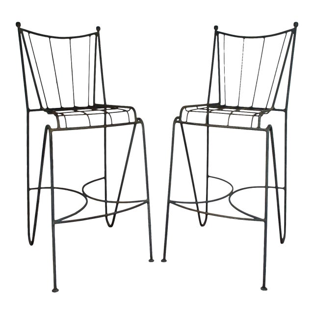 Mid Century Modern Wrought Iron Hairpin Bar Stools - A Pair - Image 1 of 11