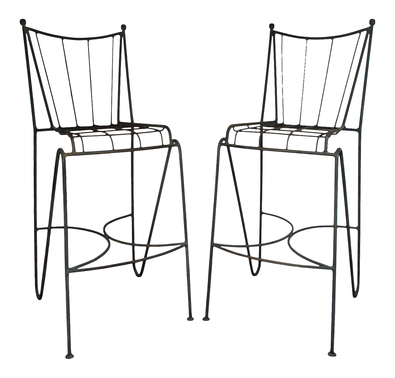 mid century modern wrought iron hairpin bar stools a pair