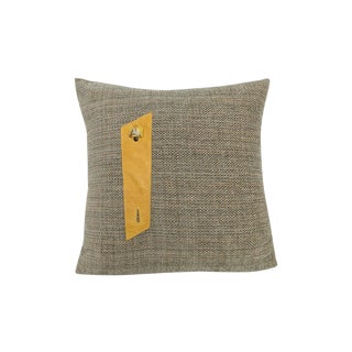 Gray Burlap Style Fabric & Yellow Leather Pillow
