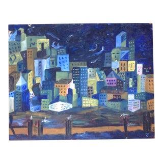 Skyline at Night Painting