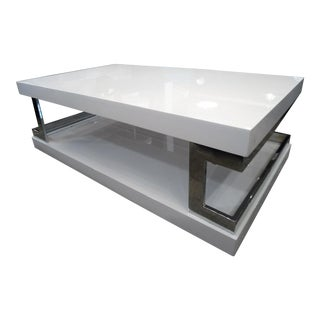 White Lacquer & Mirror Coffee Table