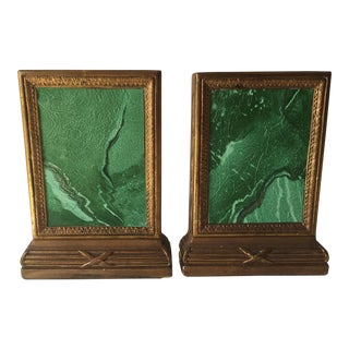 Hollywood Regency Gilt Faux Malachite Bookends - a Pair