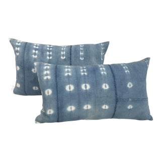 African Indigo Tye-Dye Mud Cloth Pillows - A Pair