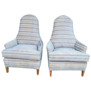 Hickory Cut Velvet Club Chairs - A Pair